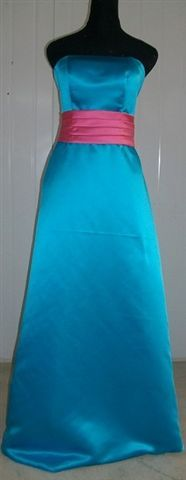 satin turquoise dress with Azalea sash