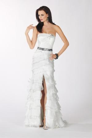 strapless asymmetrical ruffle belted sheath
