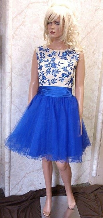 bright blue beaded dress