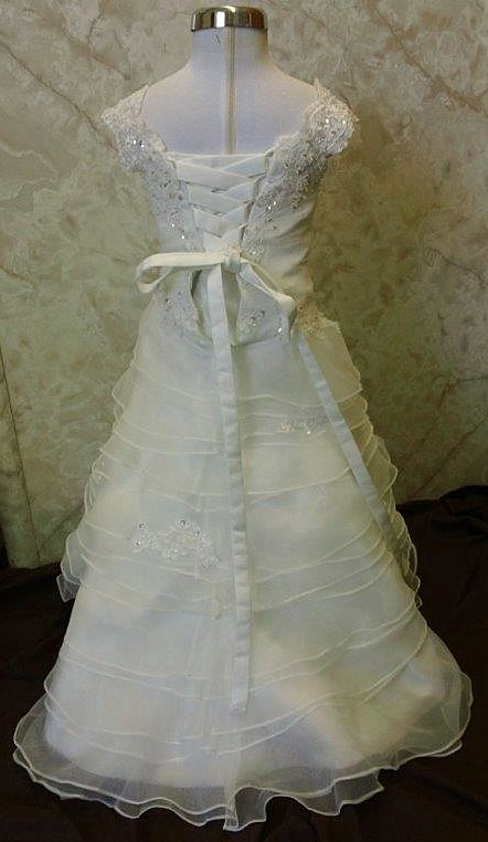 infant wedding gown with 6 inch train