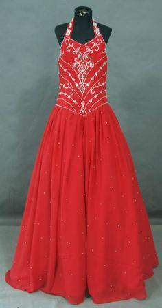long red and silver pageant gown