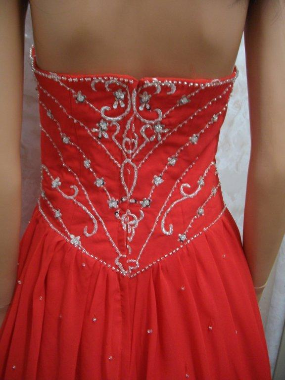 red and silver pageant gown