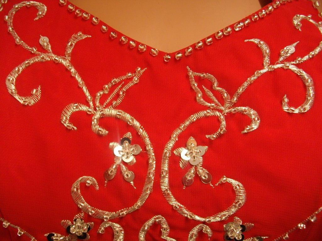 red dress with silver beads embroidery and sequins