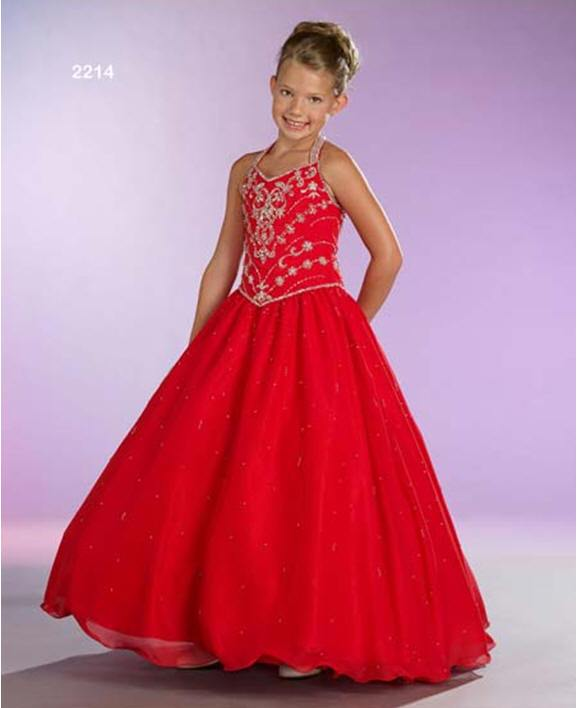floor length red halter Little Girl Pageant Dress