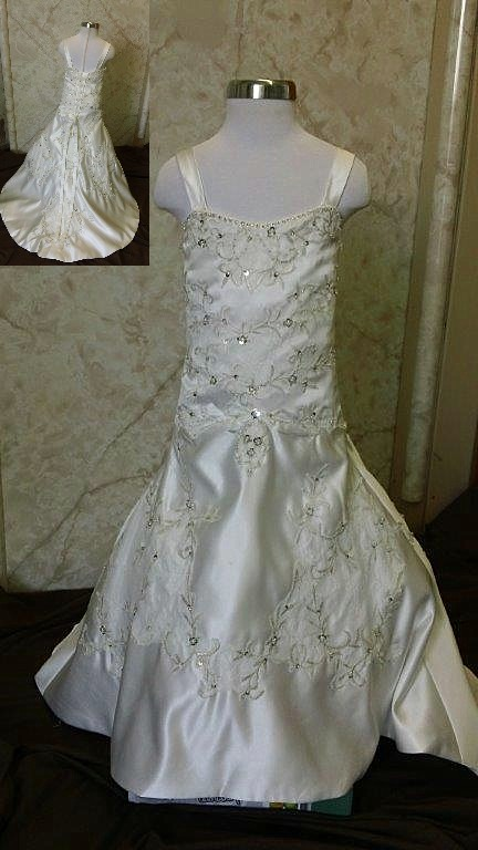 Ivory lace, dropped waist flower girl dress