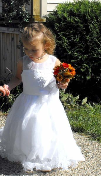 white toddler flower girl dress