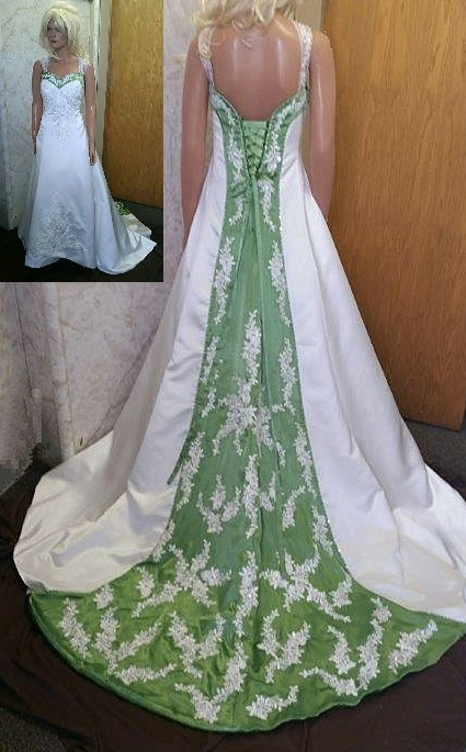 ivory and green wedding dress