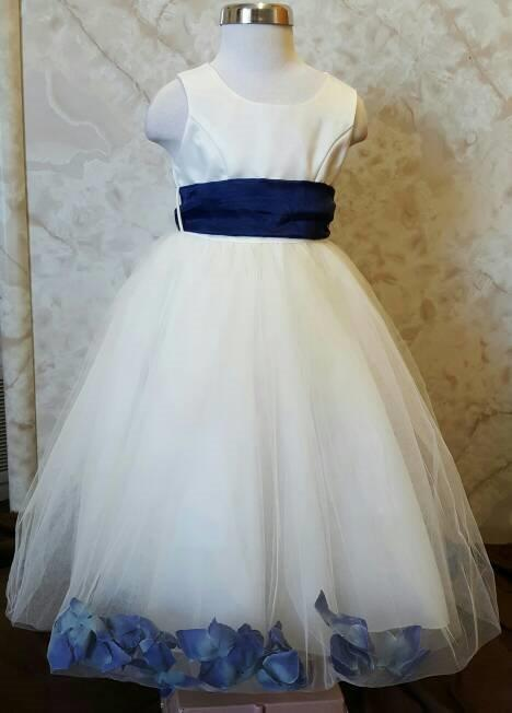 ivory and navy flower petal dresses