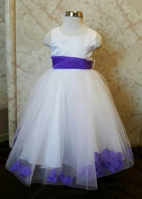 size 2 in white and purple flower petal dresses