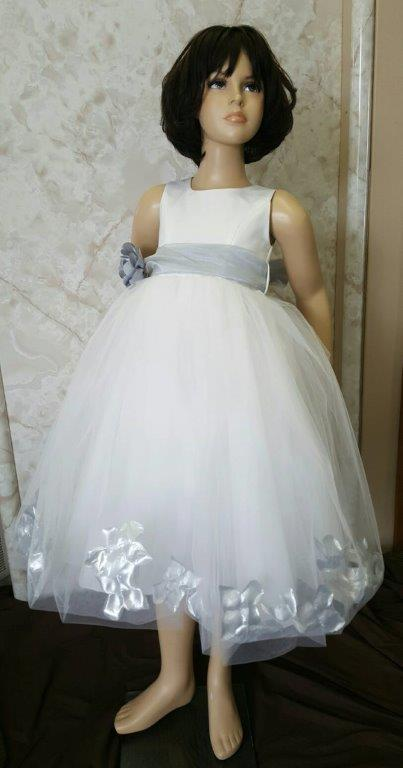 ivory and silver cheap petal flower girl dresses