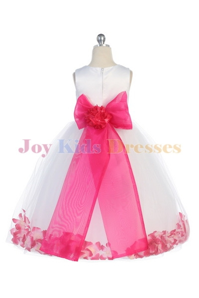 Long white flower girl dresses with fuchsia sash