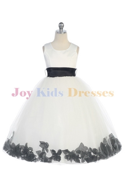 Long white flower girl dress with black petals