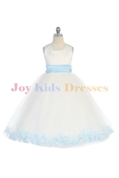 Long white flower girl dresses with blue petals
