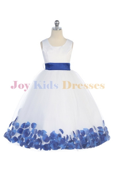 long dress with royal blue petals