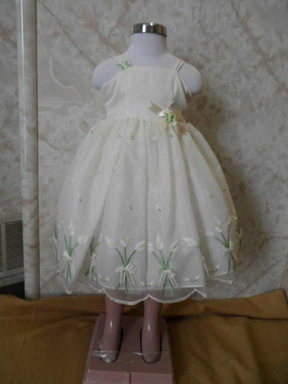 Ivory dress with green stems & yellow flowers