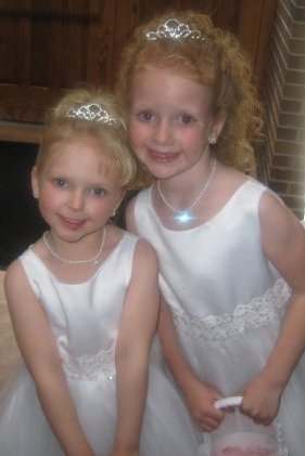 Ivory satin flower girls dress