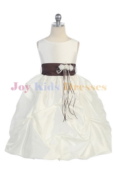 kids dresses with pick up skirt and brown sash
