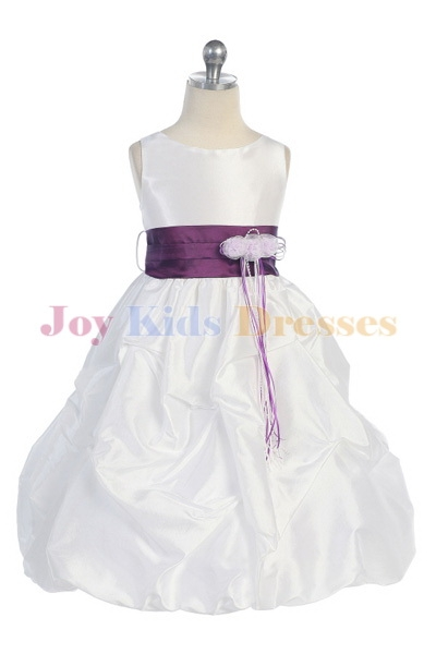 White/purple little girls christmas dresses Sale with pick up skirt