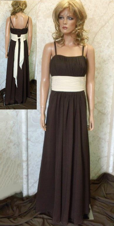 long brown bridesmaid dress with contrasting sash