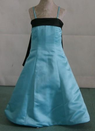 Pool blue flower girl dress with black sash