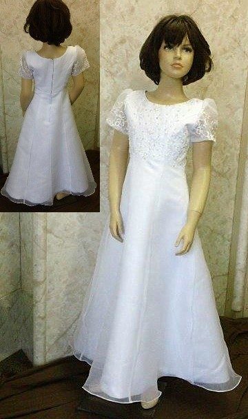 Sheer short sleeve floor length A line flower girl dress