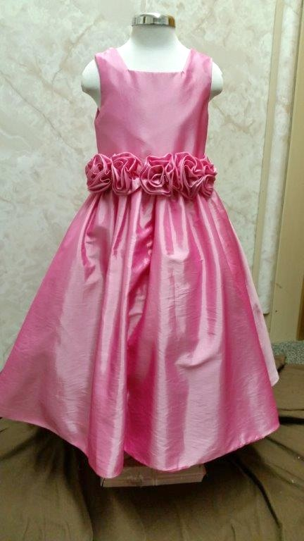 Pink Flower Girl Dress With Rosette Waist