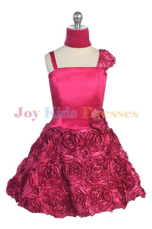 fuschia junior pageant Rosette dress