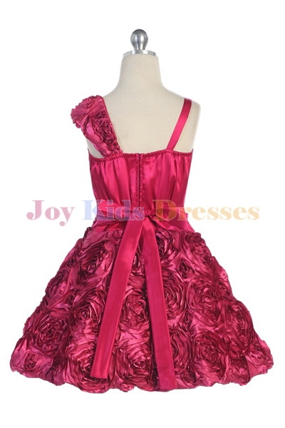 junior pageant dress with Rosette skirt dress