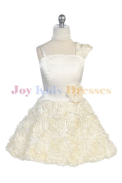 ivory junior pageant dress with Rosette skirt