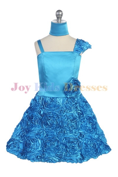 turquoise junior pageant dress with Rosette skirt dress