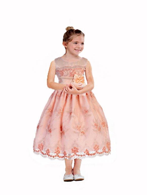 girls peach easter dress
