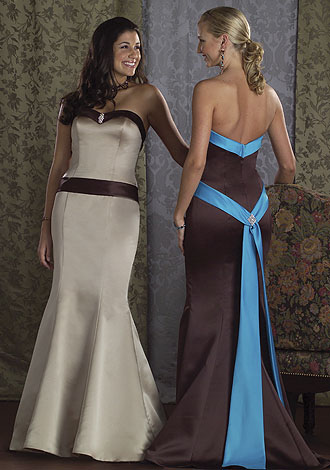 Brown and blue long dress with sash