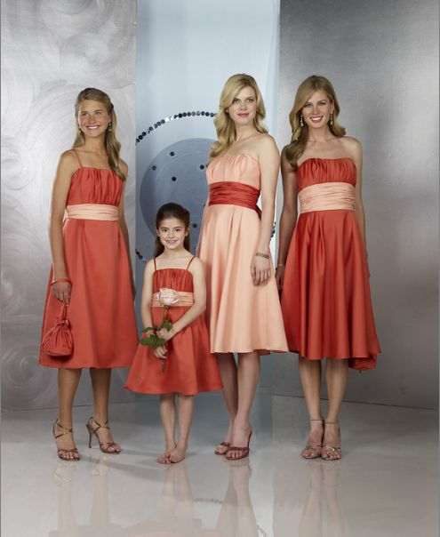 Burnt Orange/Peach bridesmaid dresses strapless short