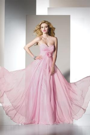pink long flowing chiffon dresses
