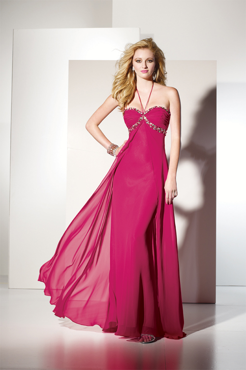 cerise chiffon sheath prom dress