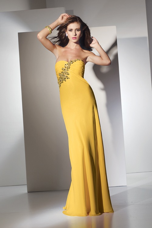 yellow strapless sheath gown