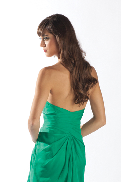 green chiffon strapless side slit formal dress