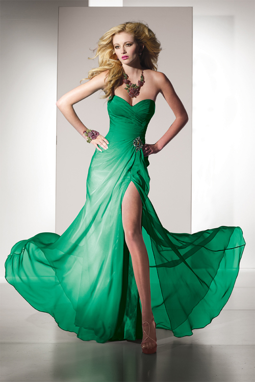green sweetheart split side dress