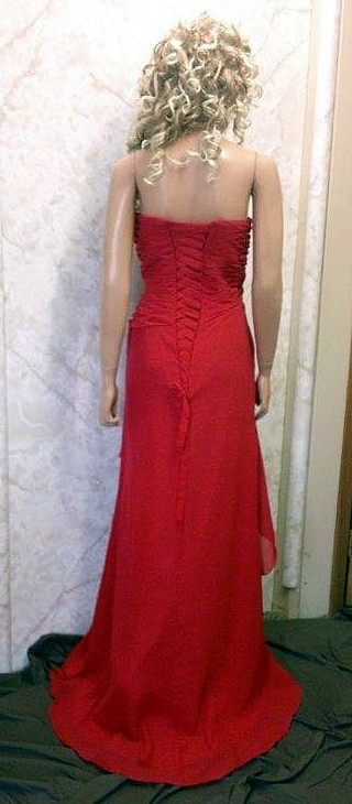 red sweetheart bridesmaid dress