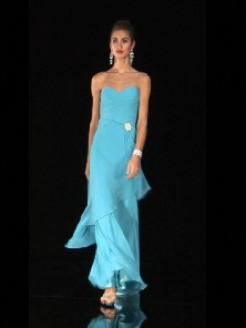 Baby blue sweetheart layered sheath prom gown
