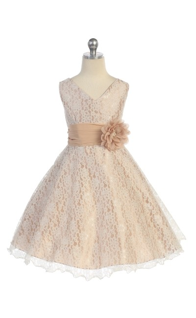 girls taupe lace dresses
