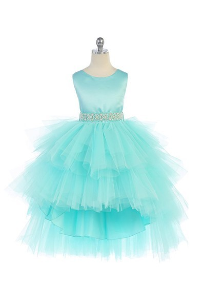 aqua flower girl tutu dress