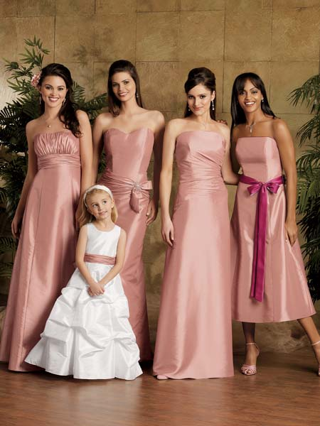 bridesmaid in white & shades of pink satin