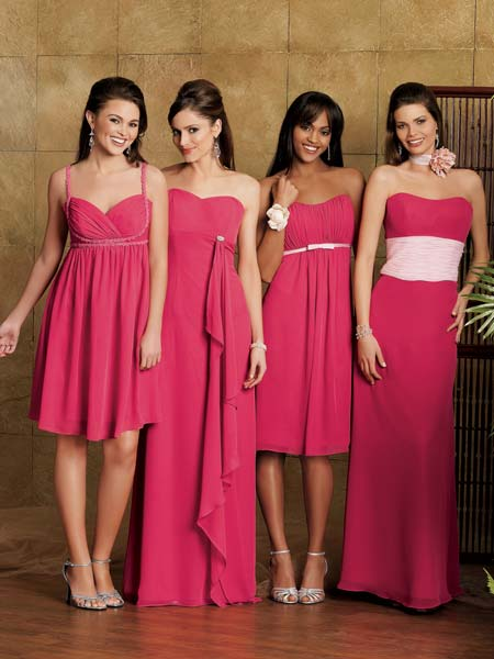 pink chiffon bridal party