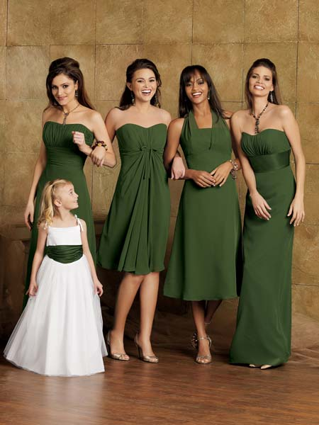green and white chiffon bridal party