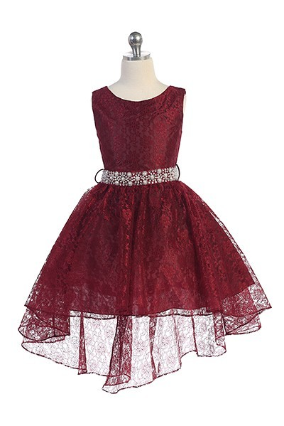 girls burgundy lace high low dress