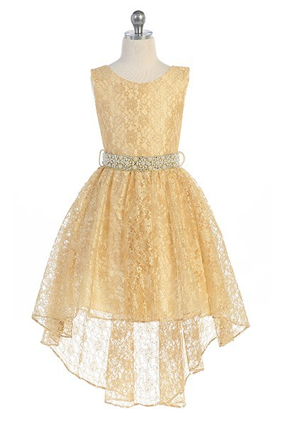 girls gold high low dress