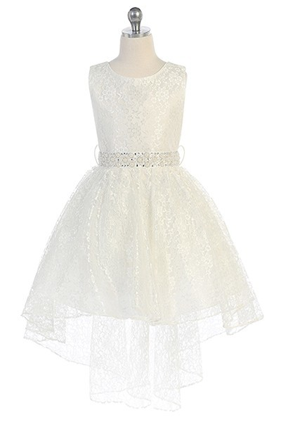 girls ivory lace high low dress