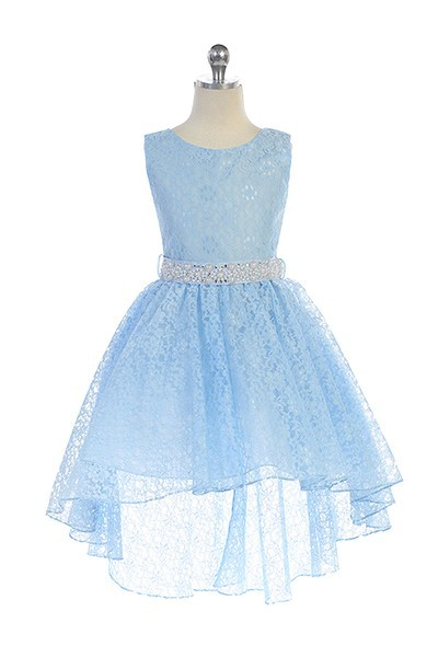 girls light blue lace high low dress