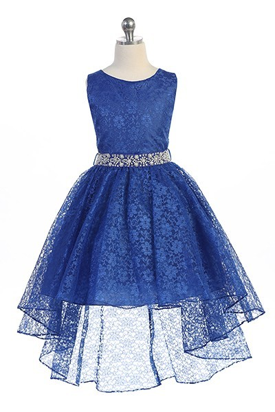 girls royal blue lace high low dress